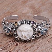 Blue topaz cuff bracelet, 'Twin Sister'