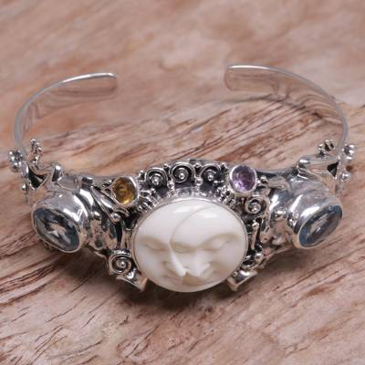 Blue topaz cuff bracelet, 'Twin Sister' - Artisan Crafted Blue Topaz Silver Cuff Bracelet