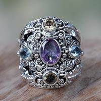 Amethyst and blue topaz cocktail ring, 'Butterfly Queen' - Unique Sterling Silver Multi-Stone Cocktail Ring