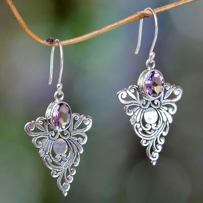 Amethyst dangle earrings, 'Java Peacock' - Artisan Crafted Amethyst Dangle Earrings