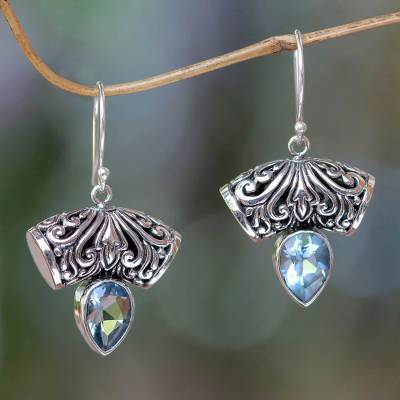 Blue topaz dangle earrings, 'Dewdrop Fern' - Balinese Artisan Crafted Blue Topaz Earrings