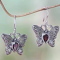 Garnet dangle earrings, 'Enchanted Butterfly' - Handcrafted Sterling Silver and Garnet Butterfly Earrings