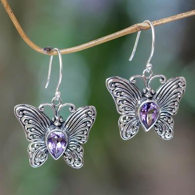 Amethyst dangle earrings, 'Enchanted Butterfly' - Handcrafted Indonesian Silver and Amethyst Earrings