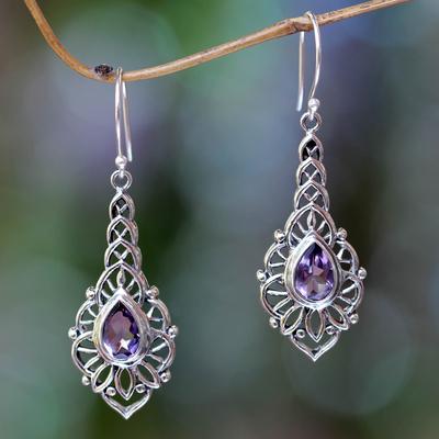 Amethyst dangle earrings, 'Rapture' - Amethyst and Sterling Silver Handcrafted Earrings