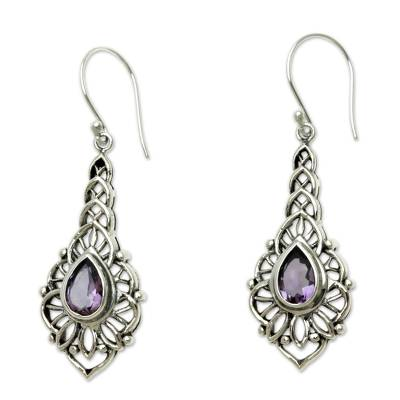 Amethyst dangle earrings, 'Rapture' - Amethyst and Sterling Silver Handcrafted Earrings
