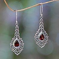 Garnet dangle earrings, 'Rapture' - Garnet and Sterling Silver Handcrafted Earrings
