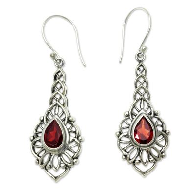 Garnet dangle earrings, 'Rapture' - Garnet and Sterling Silver Handcrafted Earrings