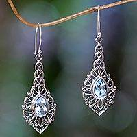 Blue topaz dangle earrings, 'Rapture' - Blue Topaz and Sterling Silver Handcrafted Earrings