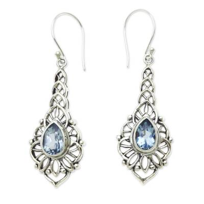 Blue topaz dangle earrings, 'Rapture' - Blue Topaz and Sterling Silver Handcrafted Earrings