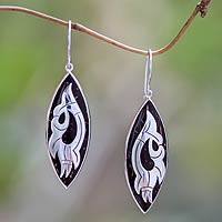Coconut shell and sterling silver dangle earrings, 'Wild Eagle' - Artisan Crafted Silver and Coconut Shell Earrings