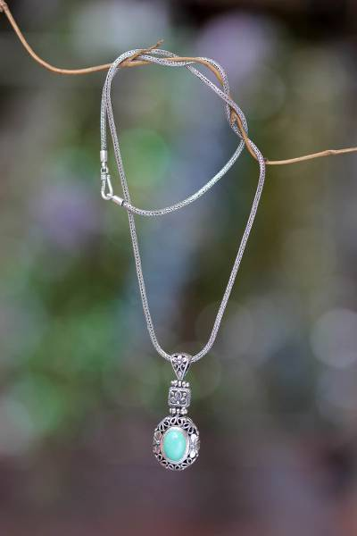 Sterling Silver Flower Necklace With Recon Turquoise Plumeria