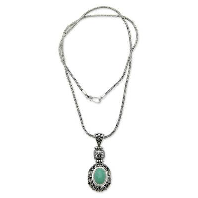 Sterling silver flower necklace, 'Plumeria Paradise' - Sterling Silver Flower Necklace with Recon Turquoise