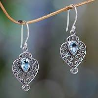 Blue topaz dangle earrings, 'Hibiscus Dew' - Earrings Handcrafted in Sterling Silver and Blue Topaz