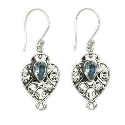 Earrings Handcrafted in Sterling Silver and Blue Topaz