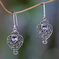 Amethyst dangle earrings, 'Hibiscus Dew' - Earrings Handcrafted in Sterling Silver and Amethyst