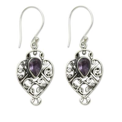 Earrings Handcrafted in Sterling Silver and Amethyst