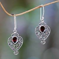 Garnet dangle earrings, 'Hibiscus Dew' - Earrings Handcrafted in Sterling Silver and Garnet