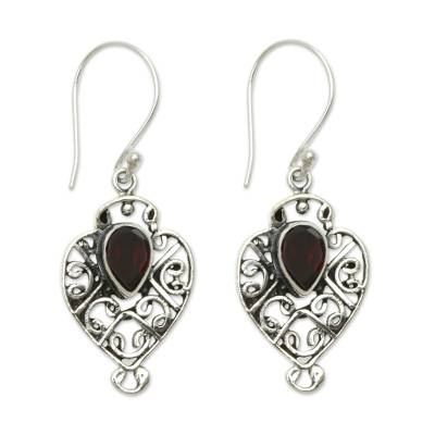 Earrings Handcrafted in Sterling Silver and Garnet