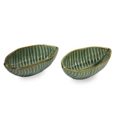 Ceramic bowls, 'Banana Leaf' (pair) - Handcrafted Ceramic Bowls from Bali (pair)
