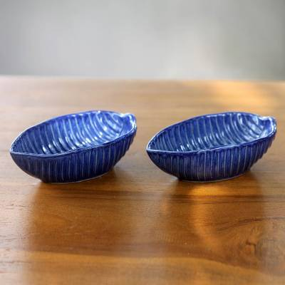 Ceramic bowls, 'Blue Banana Leaf' (pair) - Handcrafted Blue Ceramic Bowls from Bali (pair)