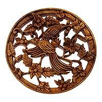 Wood relief panel, 'Cendrawasih Garden' - Hand Carved Bird Theme Relief Panel from Bali