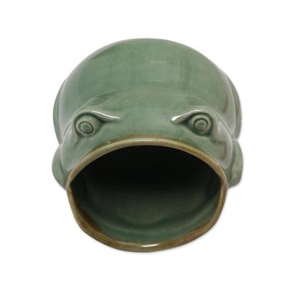Ceramic salt cellar, 'Opera Frog' - Handcrafted Frog Shaped Glazed Ceramic Salt Cellar