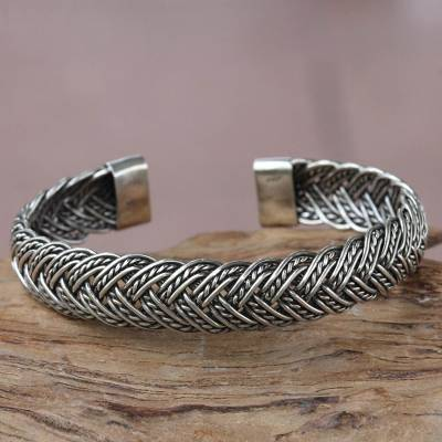 Sterling silver cuff bracelet, In Braids