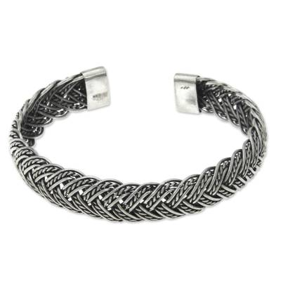 Balinese Braided Sterling Silver Cuff Bracelet