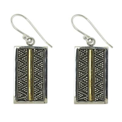 Gold accent dangle earrings, 'Temple Gate' - Fair Trade Silver Earrings with 18k Gold Accents