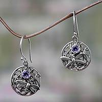 Amethyst dangle earrings, 'Wild Dragonfly' - Fair Trade Amethyst and Silver Earrings