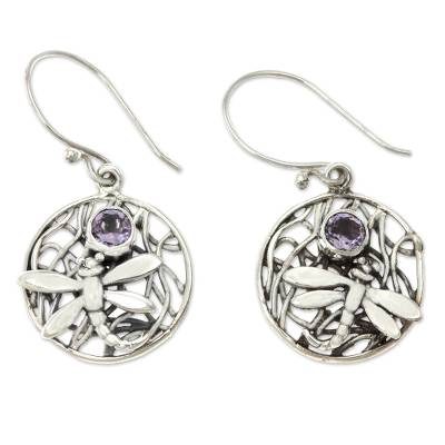Amethyst dangle earrings, 'Wild Dragonfly' - Fair Trade Amethyst and Silver Earrings
