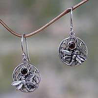 Garnet dangle earrings, 'Wild Dragonfly' - Fair Trade Garnet and Silver Earrings