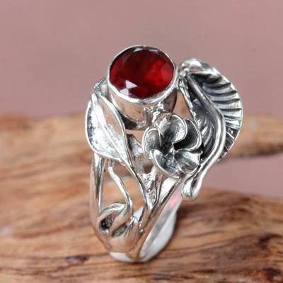 Garnet flower ring, 'Frangipani Bouquet' - Fair Trade Floral Garnet and Silver Ring