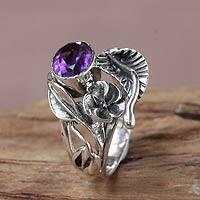 Amethyst flower ring, 'Frangipani Bouquet'