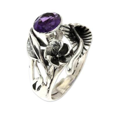 Amethyst flower ring, 'Frangipani Bouquet' - Fair Trade Floral Amethyst and Silver Ring