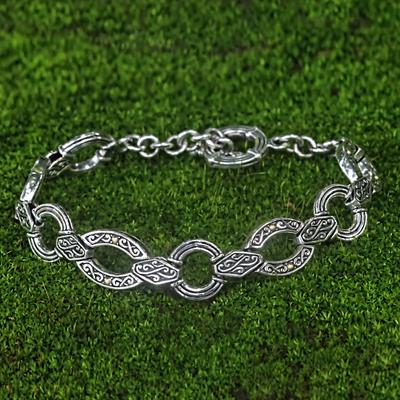 Gold accent link bracelet, 'Dewata Temple' - Balinese Silver Link Bracelet with 18k Gold Accents