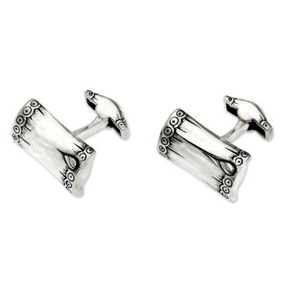 Men's sterling silver cufflinks, 'Tropical Bamboo' - Artisan Crafted Sterling Silver Cufflinks