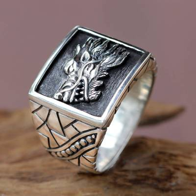 Men's sterling silver signet ring, 'Dragon Spirit' - Men's Silver Dragon Ring