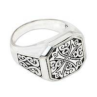 Men's sterling silver signet ring, 'Noble Knight'