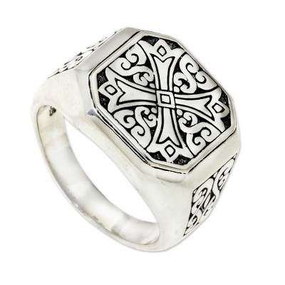 Men's sterling silver signet ring, 'Noble Knight' - Men's Ring