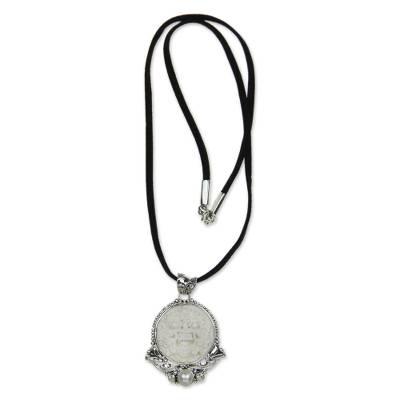 Cultured pearl pendant necklace, 'Protector' - Cultured Pearl and Carved Bone Silver Necklace
