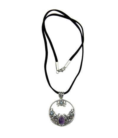 Blue topaz and amethyst pendant necklace, 'Floral Moon' - Floral Amethyst and Blue Topaz Necklace
