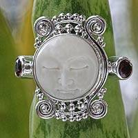 Garnet cocktail ring, 'Moon Dream' - Garnet and Carved Bone Silver Ring