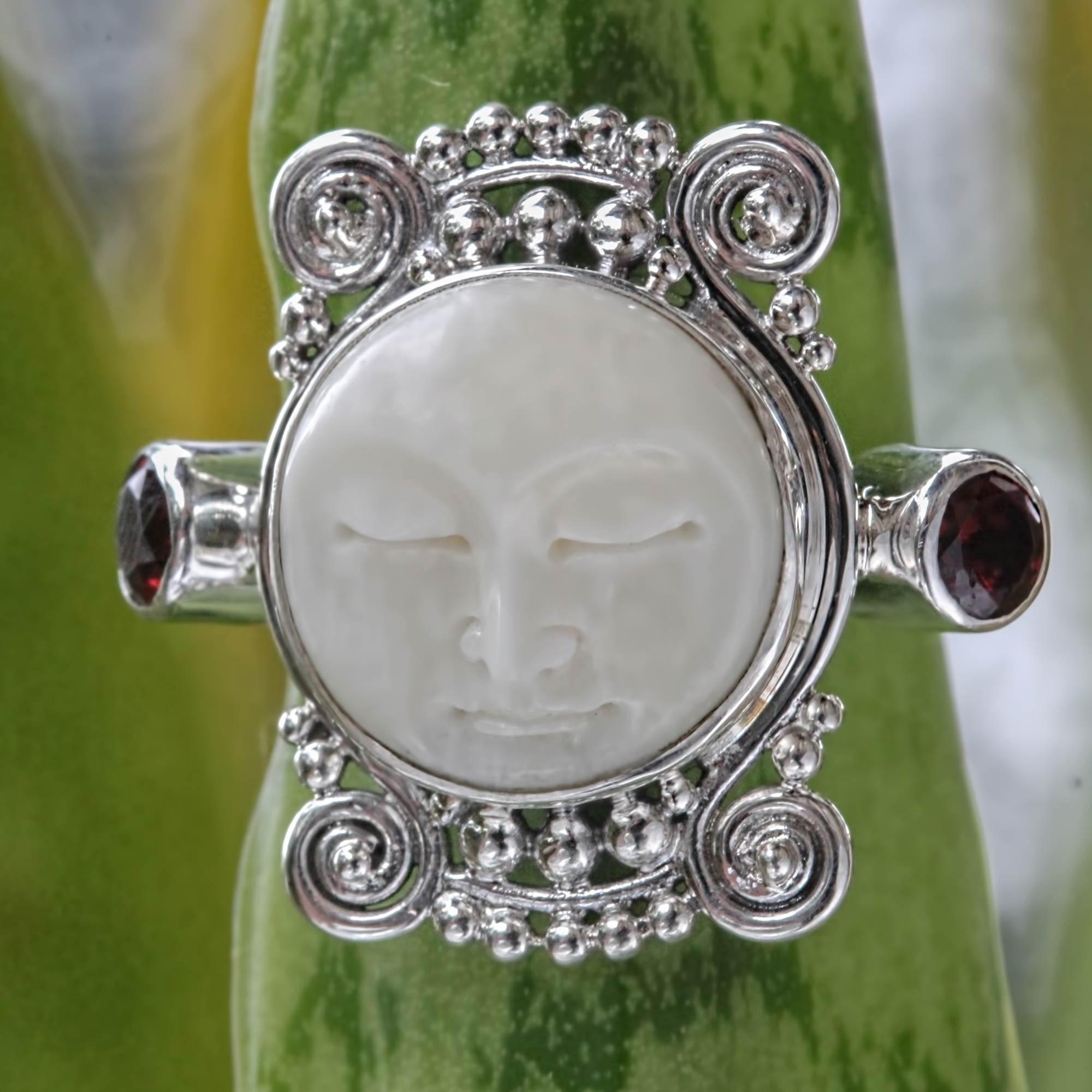 Unicef Uk Market Garnet And Carved Bone Silver Ring Moon Dream