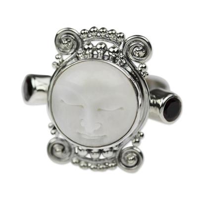 Garnet cocktail ring, 'Moon Dream' - Garnet and Carved Bone Silver Ring