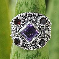 Amethyst and garnet cocktail ring, 'Royal Balinese'