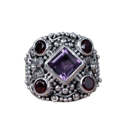 Amethyst and garnet cocktail ring, 'Royal Balinese' - Large Silver Ring with Amethyst and Garnet