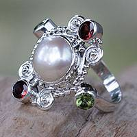 Cultured pearl and garnet cocktail ring, 'Moon and Stars' - Artisan Crafted Cultured Pearl and Garnet Ring with Peridot