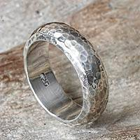 Sterling silver band ring, 'Moon Walker' - Bali Hammered Silver Band Ring