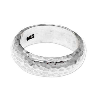 Sterling silver band ring, 'Moon Walker' - Bali Hammered Silver Band Ring